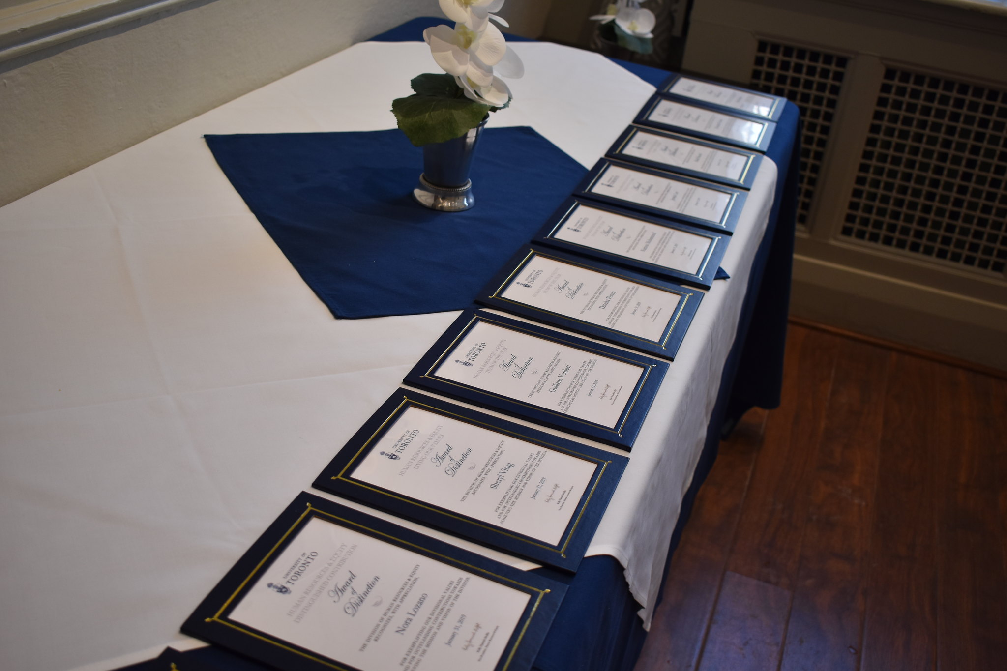 framed award certificates in a row on a table